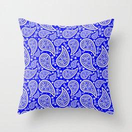 Paisley (White & Blue Pattern) Throw Pillow