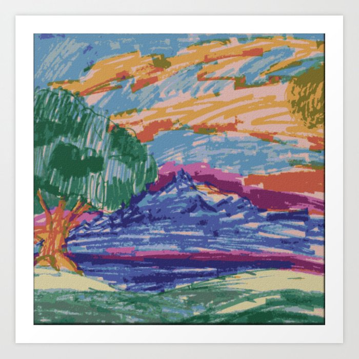 Felt Tip Pen Kids Drawing Mountain View With Tree Art Print By