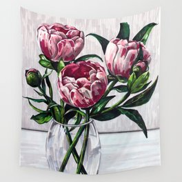 Peonies in a vase marers art Wall Tapestry