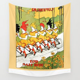 Vintage art Nouveau funny girls on a tandem bicycle Wall Tapestry