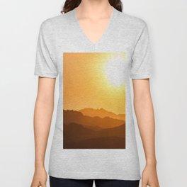 Orange Monochromatic Mountain Landscape Parallax Silhouette Yellow Orange Sunset Hues Unisex V-Neck