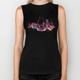 St Louis Watercolor Skyline Biker Tank