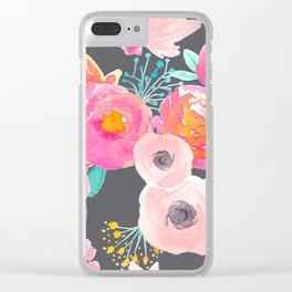 Indy Bloom Design Blush Grey Florals Clear iPhone Case