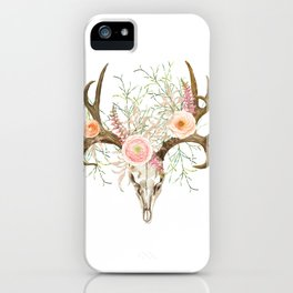 Bohemian deer skull and antlers with flowers iPhone Case