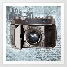 Blue Vintage Camera Art Art Print