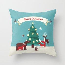 Christmas Animals and Christmas Tree Throw Pillow