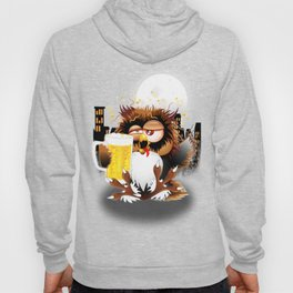 Drunk Owl with Beer Funny Character Hoody