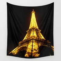 eiffel tower Wall Tapestries featuring Eiffel Tower by AshleyPickles