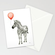 Baby Zebra Whimsical Animal with Red Balloon Nursery Art Stationery Cards
