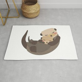 Otter Mother and Child Rug
