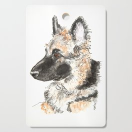 German shepherd puppy painting Cutting Board