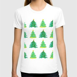 Christmas Tree Pattern Watercolor (Color) T-shirt