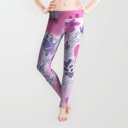 Pink Floral Graphic Watercolor Pattern Leggings