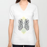 tropical V-neck T-shirts featuring Tropical by Barlena