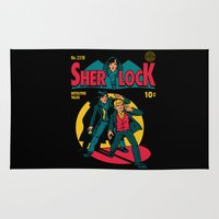 comic book Area & Throw Rugs featuring Sherlock Comic by harebrained