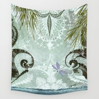 tiffany Wall Tapestries featuring tiffany lake by Ariadne