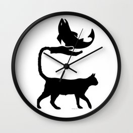 Cat Hand Tail & Fish Silhouette Wall Clock