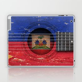Old Vintage Acoustic Guitar with Haitian Flag Laptop & iPad Skin