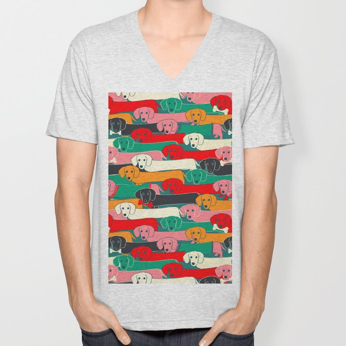 dachshund pattern- happy dogs Unisex V-Neck