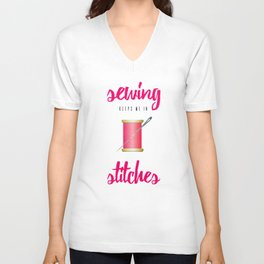 Funny Sewing Keeps Me in Stitches Unisex V-Neck