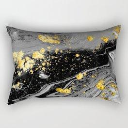 Black Marble Gold Rectangular Pillow