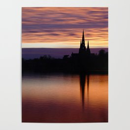 Sunset Reflection At The Lichfield Cathedral Poster