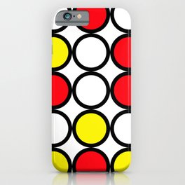 Abstract circle pattern grid with red and yellow colours iPhone Case