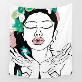 Kisses: a pretty, minimal, portrait illustration in black and white with a hint of color Wall Tapestry