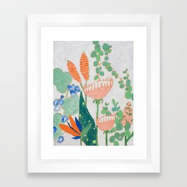 Proteas and Birds of Paradise Painting Framed Art Print