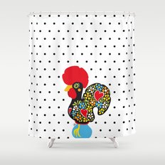 Famous Rooster of Barcelos 01 | Lucky Charm & Polka Dots Shower Curtain