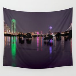 Lights of Dallas, Texas Skyline over Flooded Trinity River Basin Wall Tapestry