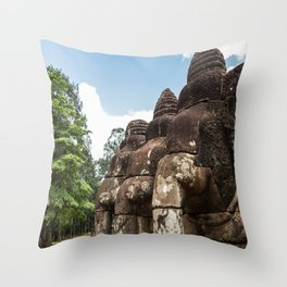 Stone Elephants at Angkor Thom, Siem Reap, Cambodia Throw Pillow