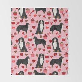 Bernese Mountain Dog custom valentines day gift for dog lover pet art love dogs Throw Blanket