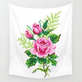 Pixel Rose Wall Tapestry