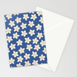 Simple Cream Floral Pattern on Blue Stationery Cards