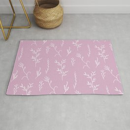 Modern spring pink lavender floral twigs hand drawn pattern Rug