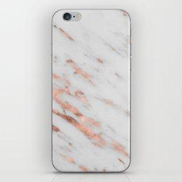 Lenola - minimalist rose gold gleam marble iPhone Skin