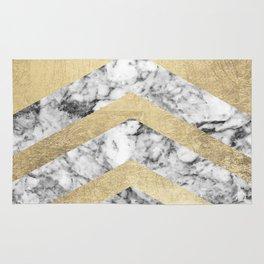 Stylish black white faux gold elegant geometrical marble Rug