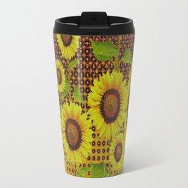 GRUBBY WORN BROWN SUNFLOWERS ART Travel Mug