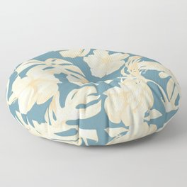 Island Vacay Hibiscus Palm Leaf Coral Teal Blue Floor Pillow