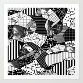 Chaotic Black And White Art Print