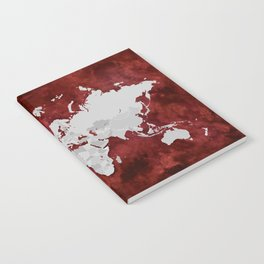 Red watercolor and grey world map with outlined countries Notebook