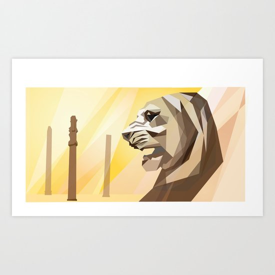 persepolis lion Art Print
