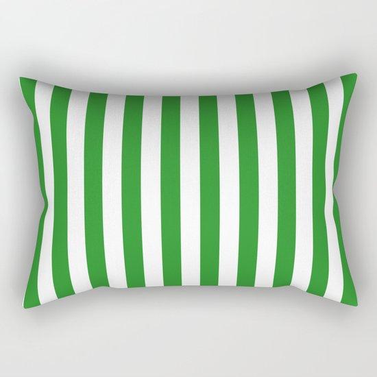 Vertical Stripes (Forest Green/White) Rectangular Pillow