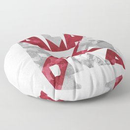 Alabama Typographic Flag Map Floor Pillow