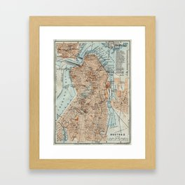 Vintage Map of Boston MA (1906) 2 Framed Art Print
