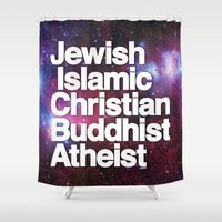 religion Shower Curtains featuring RELIGION by CHAD MIZE /// CHIZZY