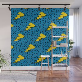 90's Retro Blue and Yellow Lightning Bolt Pattern Wall Mural