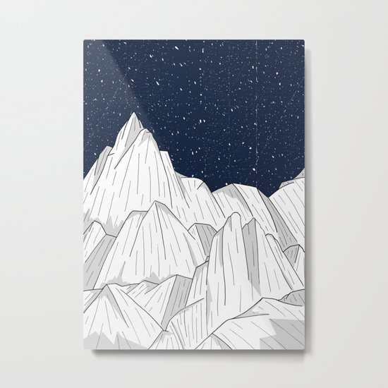 The white mountains under the stars Metal Print