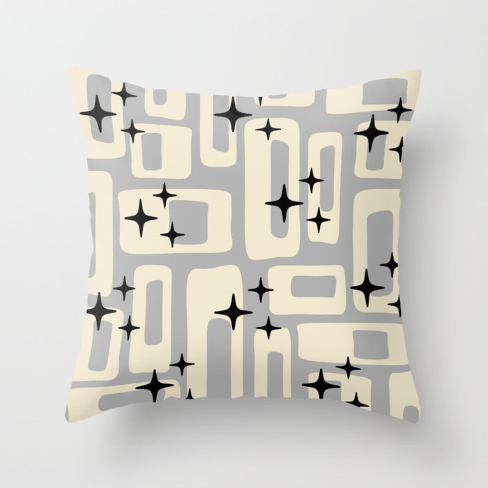 Retro Mid Century Modern Abstract Pattern 576 Gray Black Throw Pillow